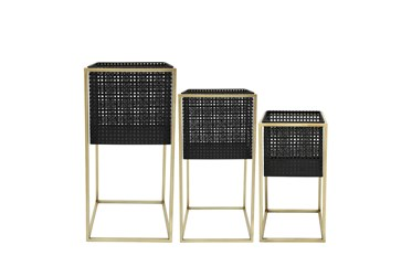 Set Of Three Metal Mesh Square Planters On Stand 8/9/11 Inch
