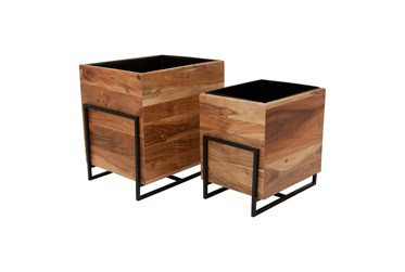 Brown Set Of Two Wood/Metal 15/18 Inch Square Planters