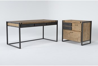 Whistler 2 Piece Office Set With Desk + File Cabinet