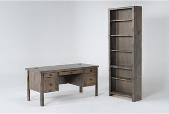 Ducar II 2 Piece Office Set With Executive Desk + Bookcase