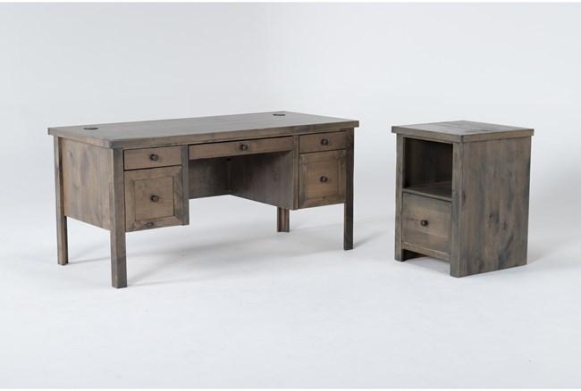 Ducar II 2 Piece Office Set With Executive Desk + File Cabinet - 360