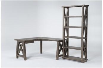 Jaxon Grey 2 Piece Office Set With Corner Desk + Bookcase