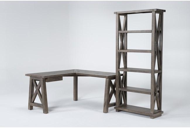 Jaxon Grey 2 Piece Office Set With Corner Desk + Bookcase - 360
