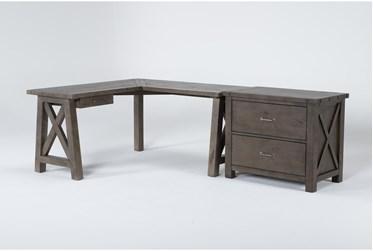 Jaxon Grey 2 Piece Office Set With Corner Desk + File Cabinet