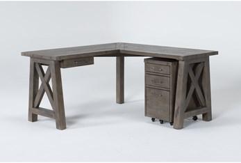 Jaxon Grey 2 Piece Office Set With Corner Desk + Mobile File Cabinet