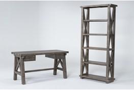 Jaxon Grey 2 Piece Office Set With Desk + Bookcase