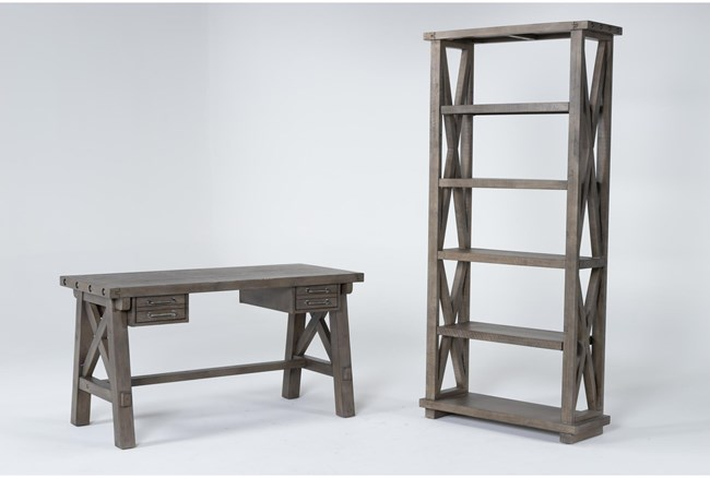 Jaxon Grey 2 Piece Office Set With Desk + Bookcase - 360