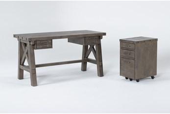 Jaxon Grey 2 Piece Office Set With Desk + Mobile File Cabinet