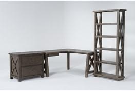 Jaxon Grey 3 Piece Office Set With Corner Desk, Lateral File Cabinet + Bookcase