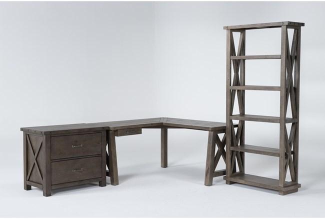 Jaxon Grey 3 Piece Office Set With Corner Desk, Lateral File Cabinet + Bookcase - 360