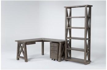 Jaxon Grey 3 Piece Office Set With Corner Desk, File Cabinet + Bookcase