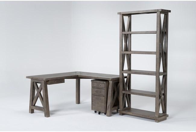Jaxon Grey 3 Piece Office Set With Corner Desk, File Cabinet + Bookcase - 360