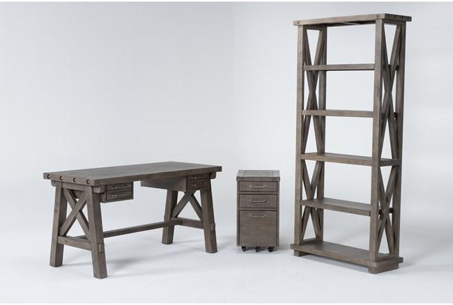 Jaxon Grey 3 Piece Office Set With  Desk, File Cabinet + Bookcase - 360