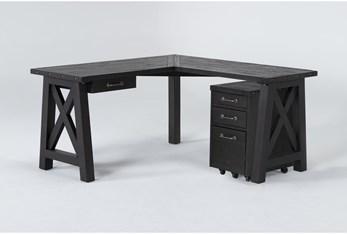 Jaxon 2 Piece Office Set With Corner Desk + Mobile File Cabinet