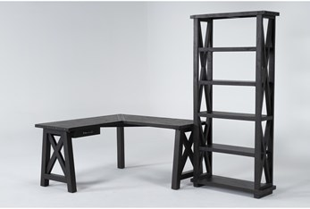 Jaxon 2 Piece Office Set With Corner Desk + Bookcase