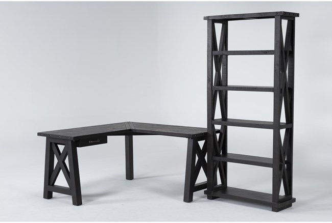 Jaxon 2 Piece Office Set With Corner Desk + Bookcase - 360