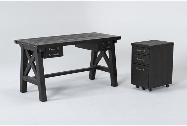 Jaxon 2 Piece Office Set With Desk + Mobile File Cabinet - 360