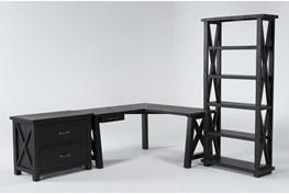 Jaxon 3 Piece Office Set With Corner Desk, Lateral File Cabinet + Bookcase