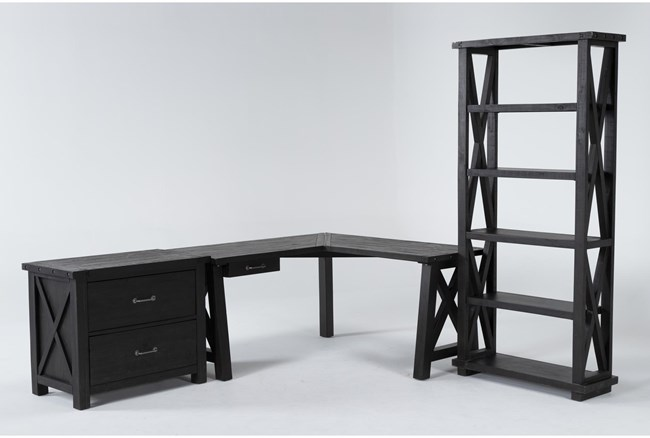 Jaxon 3 Piece Office Set With Corner Desk, Lateral File Cabinet + Bookcase - 360