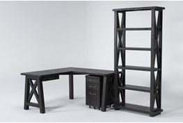 Jaxon 3 Piece Office Set With Corner Desk, Mobile File Cabinet + Bookcase