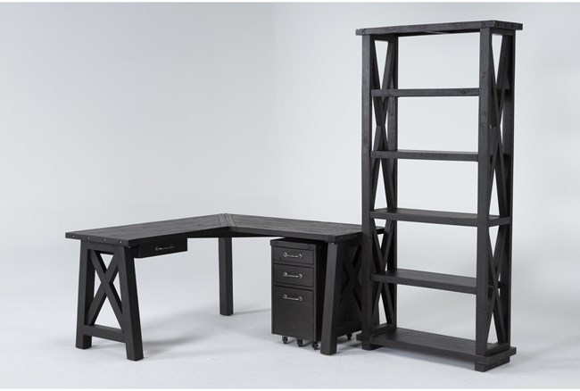 Jaxon 3 Piece Office Set With Corner Desk, Mobile File Cabinet + Bookcase - 360