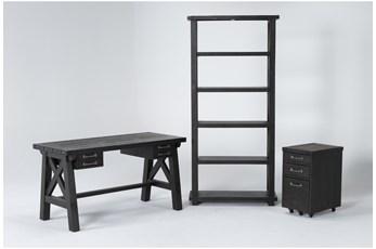 Jaxon 3 Piece Office Set With Desk, Mobile File Cabinet + Bookcase