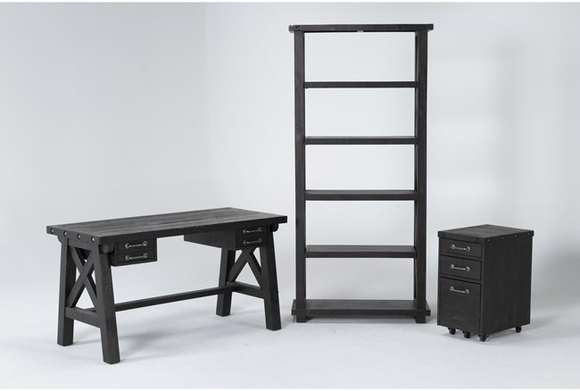 Jaxon 3 Piece Office Set With Desk, Mobile File Cabinet + Bookcase - 360