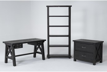 Jaxon 3 Piece Office Set With Desk, Lateral File Cabinet + Bookcase