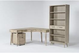 Allen 3 Piece Office Set With Corner Desk, Mobile File Cabinet + Bookcase