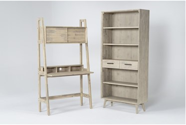 Allen 2 Piece Office Set With Wall Desk + Bookcase