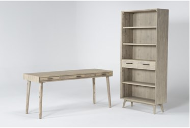 Allen 2 Piece Office Set With Writing Desk + Bookcase