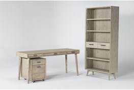 Allen 3 Piece Office Set With Writing Desk, Mobile File Cabinet + Bookcase