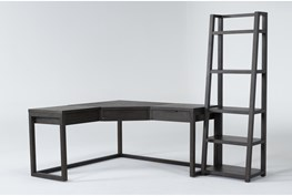 Pierce Espresso 2 Piece Office Set With Corner Desk + Leaning Bookcase