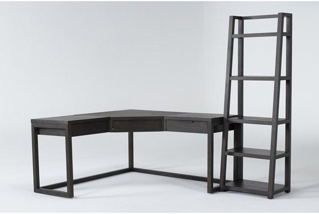 Pierce Espresso 2 Piece Office Set With Corner Desk + Leaning Bookcase - 360