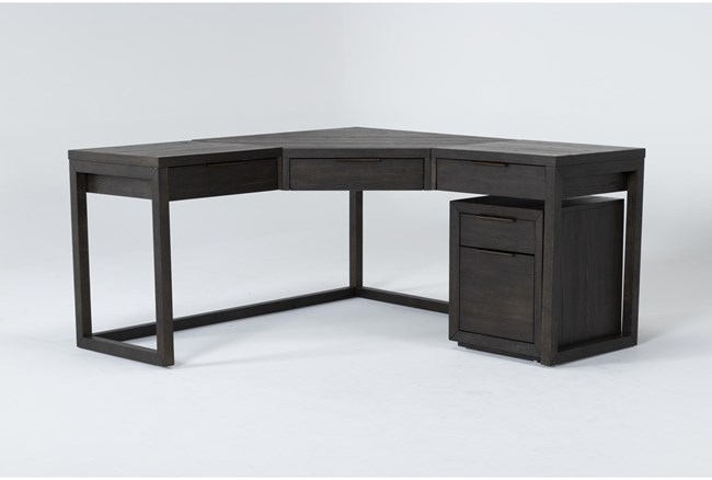 Pierce Espresso 2 Piece Office Set With Corner Desk + Mobile File Cabinet - 360