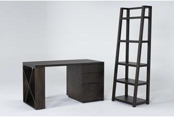 Pierce Espresso 2 Piece Office Set With Pedestal Desk + Leaning Bookcase