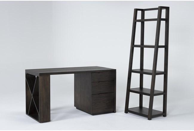 Pierce Espresso 2 Piece Office Set With Pedestal Desk + Leaning Bookcase - 360