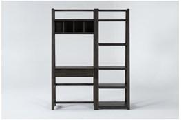 Pierce Espresso 2 Piece Office Set With Wall Desk + Bookcase