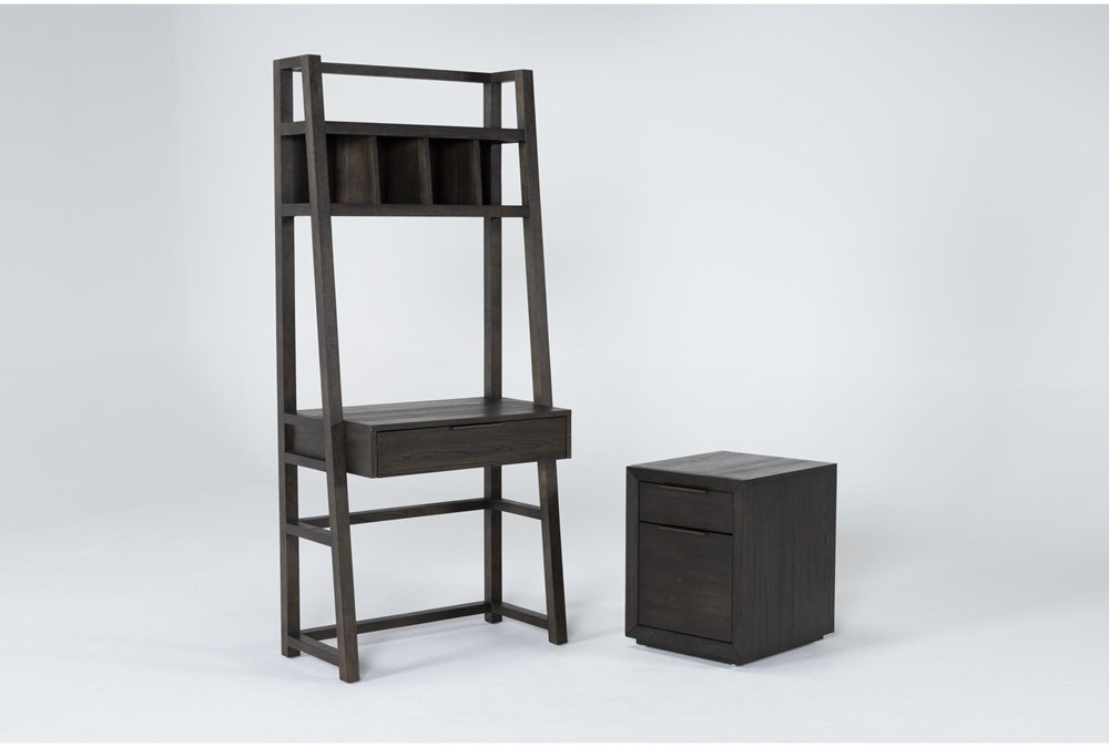 Pierce Espresso 2 Piece Office Set With Wall Desk + Mobile File Cabinet