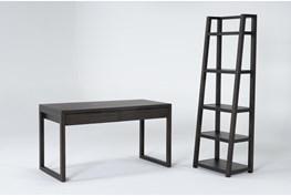Pierce Espresso 2 Piece Office Set With Writing Desk + Bookcase