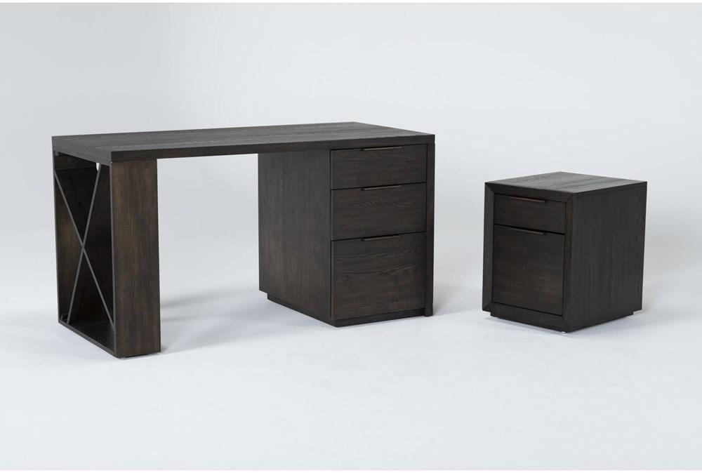 Pierce Espresso 2 Piece Office Set With Pedestal Desk + Mobile File Cabinet