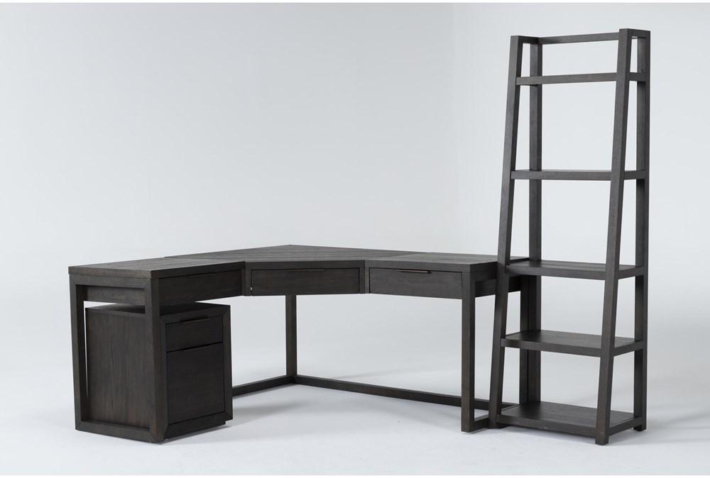 Pierce Espresso 3 Piece Office Set With Corner Desk, Mobile File Cabinet + Bookcase