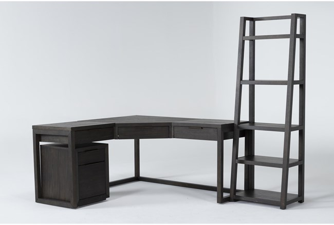 Pierce Espresso 3 Piece Office Set With Corner Desk, Mobile File Cabinet + Bookcase - 360