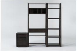 Pierce Espresso 3 Piece Office Set With Wall Desk, Mobilef Ile Cabinet + Bookcase