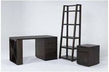 Pierce Espresso 3 Piece Office Set With Pedestal Desk, Mobile File Cabinet + Bookcase