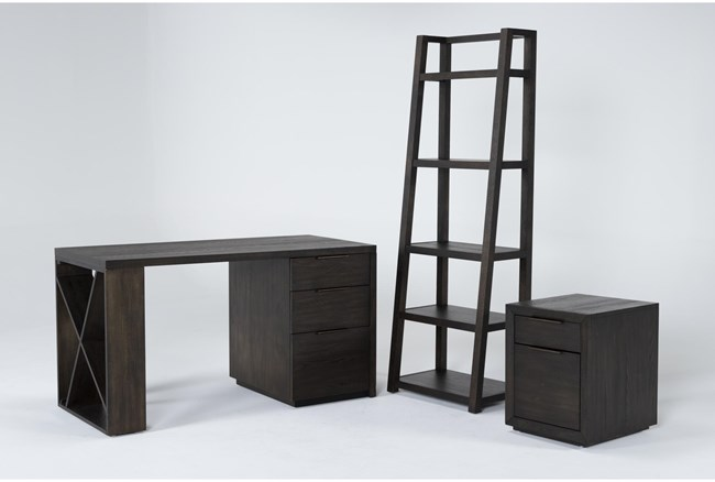 Pierce Espresso 3 Piece Office Set With Pedestal Desk, Mobile File Cabinet + Bookcase - 360