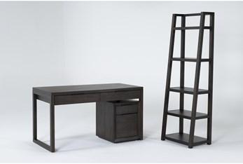 Pierce Espresso 3 Piece Office Set With Writing Desk, Mobile File Cabinet + Bookcase