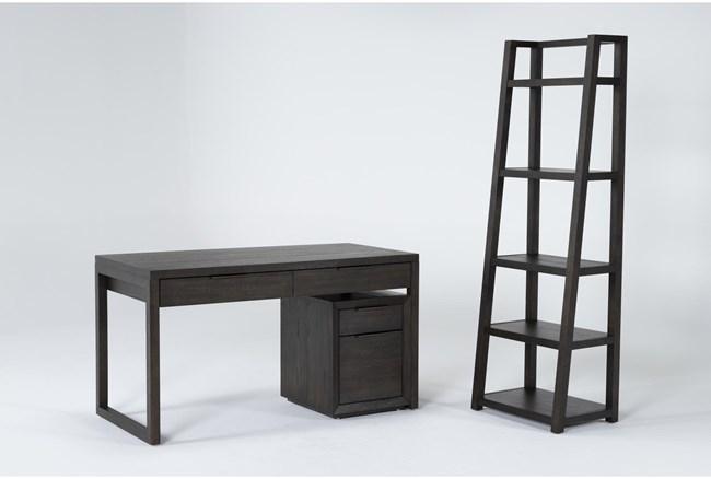 Pierce Espresso 3 Piece Office Set With Writing Desk, Mobile File Cabinet + Bookcase - 360