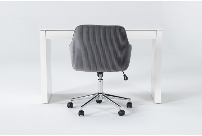 2 Piece Office Set With Vember White Desk + Robyn Grey Velvet Office Chair - 360