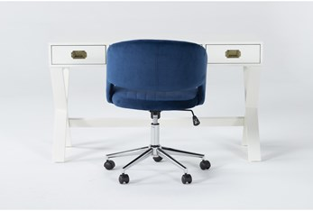 2 Piece Office Set With Adams White Desk + Phoebe Blue Office Chair